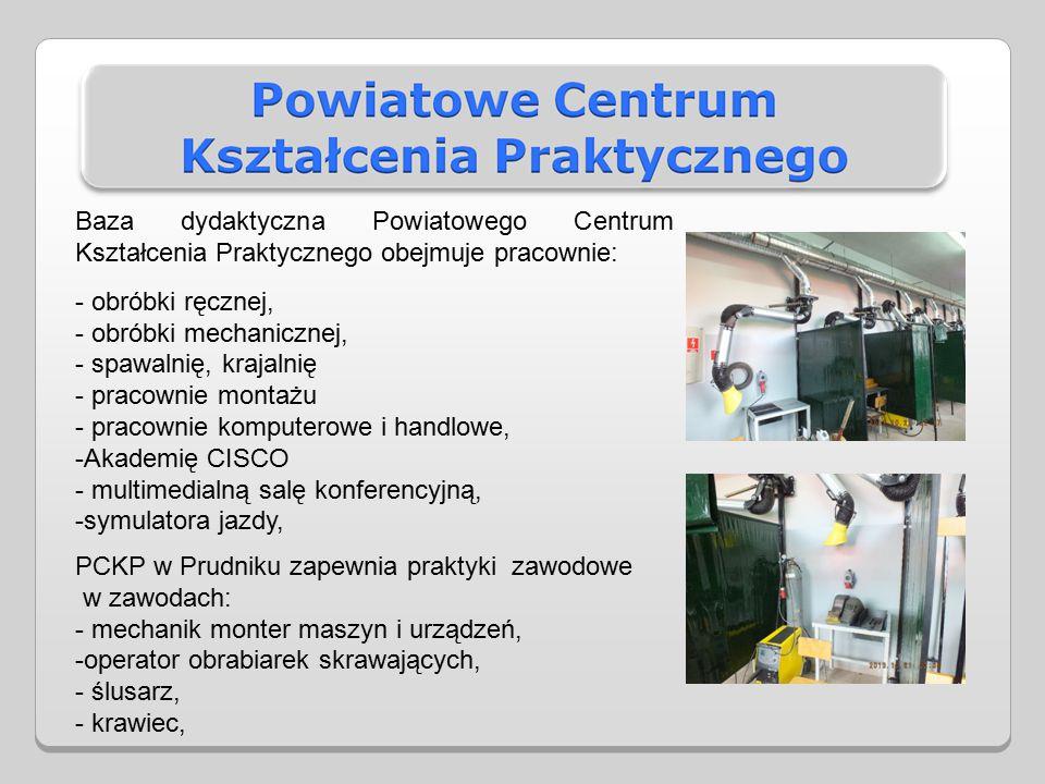 Baza dydaktyczna Powiatowego Centrum Kształcenia Praktycznego obejmuje pracownie: - obróbki ręcznej, - obróbki mechanicznej, - spawalnię, krajalnię - pracownie montażu - pracownie komputerowe i handlowe, -Akademię CISCO - multimedialną salę konferencyjną, -symulatora jazdy, PCKP w Prudniku zapewnia praktyki zawodowe w zawodach: - mechanik monter maszyn i urządzeń, -operator obrabiarek skrawających, - ślusarz, - krawiec,
