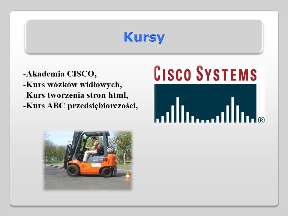 -Akademia CISCO, -Kurs wózków widłowych, -Kurs tworzenia stron html, -Kurs ABC przedsiębiorczości,
