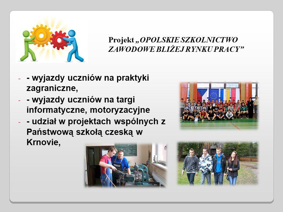 """- - wyjazdy uczniów na praktyki zagraniczne, - - wyjazdy uczniów na targi informatyczne, motoryzacyjne - - udział w projektach wspólnych z Państwową szkołą czeską w Krnovie, Projekt """"OPOLSKIE SZKOLNICTWO ZAWODOWE BLIŻEJ RYNKU PRACY"""