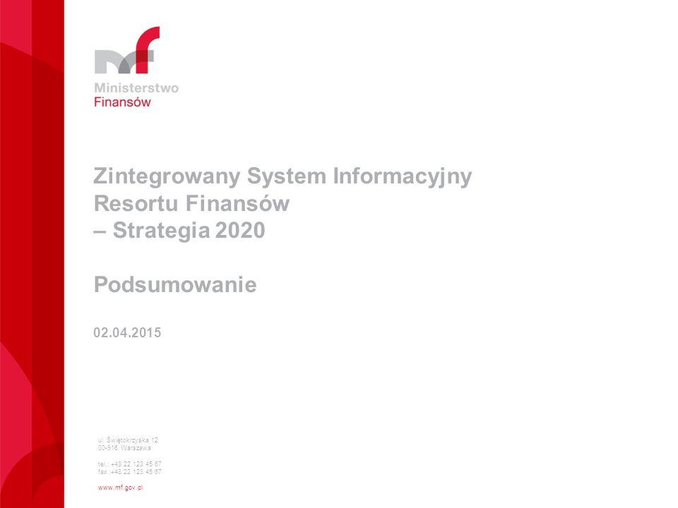 ul. Świętokrzyska 12 00-916 Warszawa tel.: +48 22 123 45 67 fax :+48 22 123 45 67 www.mf.gov.pl Zintegrowany System Informacyjny Resortu Finansów – St