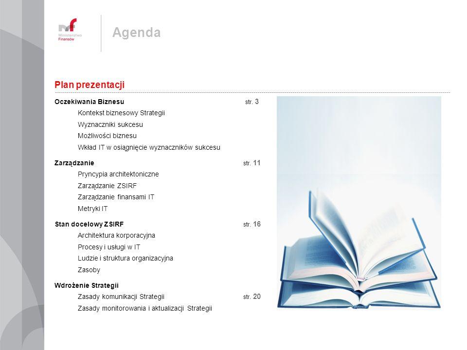 ZSIRF wymaga odpowiedniego ładu zarządczego, który zapewni sprawną komunikację między Biznesem a IT, nakierowanie działań IT na efektywne wsparcie Biznesu w świadczeniu usług, efektywny proces podejmowania decyzji Rada Informatyzacji Resortu Komitet Zmiany Biznesowej Komitet Operacyjny Nadzór Strategiczny nad ZSIRF Nadzór nad procesami planowania i rozwoju Nadzór nad świadczeniem usług Planowanie długo- średnio- i krótkoterminowe Wdrażanie zmian Realizacja usług Programy Projekty Nadzoruje działania realizowane przez: Biznesowe komórki organizacyjne w ramach realizacji procesów operacyjnych Informatyczne komórki organizacyjne w ramach realizacji procesów wsparcia Rady Programu Rady Projektu Kierownictwo komórek biznesowych Kierownictwo komórek IT Decyzje Eskalacje Minister Finansów Wydział ds.