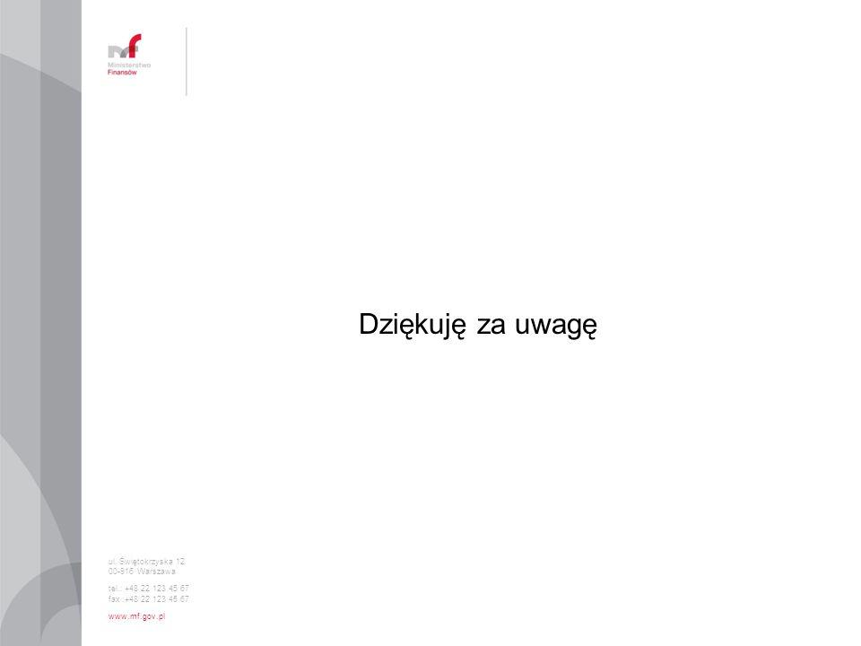 ul. Świętokrzyska 12 00-916 Warszawa tel.: +48 22 123 45 67 fax :+48 22 123 45 67 www.mf.gov.pl Dziękuję za uwagę