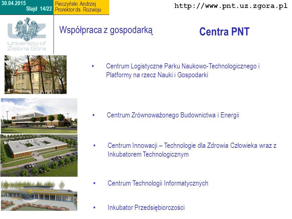 Centrum Logistyczne Parku Naukowo-Technologicznego i Platformy na rzecz Nauki i Gospodarki http://www.pnt.uz.zgora.pl 30.04.2015 Slajd 15/22 Pieczyński Andrzej Prorektor ds.