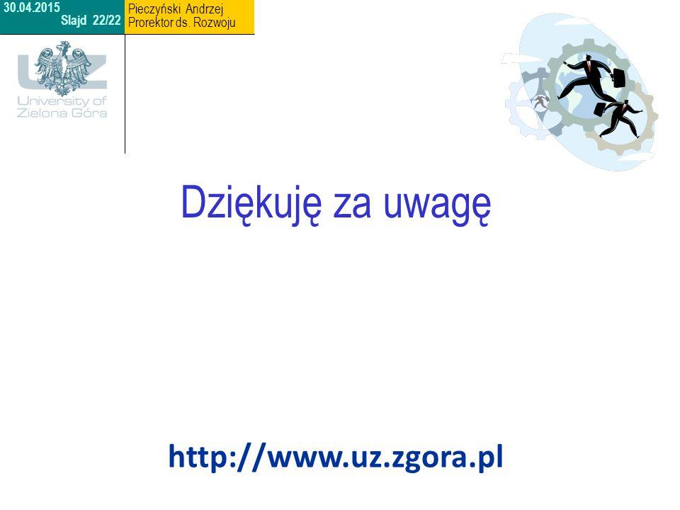 http://www.uz.zgora.pl Dziękuję za uwagę 30.04.2015 Slajd 22/22 Pieczyński Andrzej Prorektor ds. Rozwoju