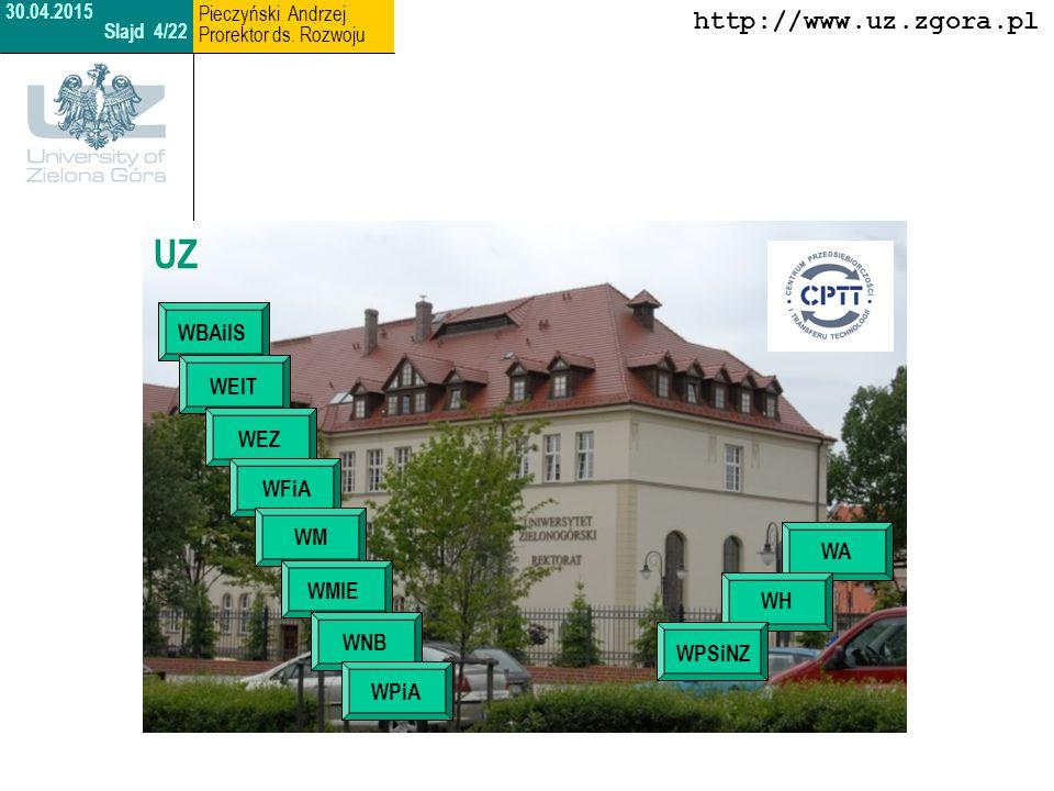 Kadra akademicka w liczbach Profesorowie 260 Doktorzy 500 Magistrowie 150 http://www.uz.zgora.pl 30.04.2015 Slajd 5/22 Pieczyński Andrzej Prorektor ds.