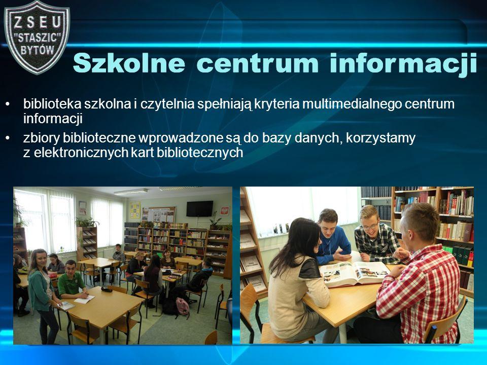 biblioteka szkolna i czytelnia spełniają kryteria multimedialnego centrum informacji zbiory biblioteczne wprowadzone są do bazy danych, korzystamy z elektronicznych kart bibliotecznych Szkolne centrum informacji