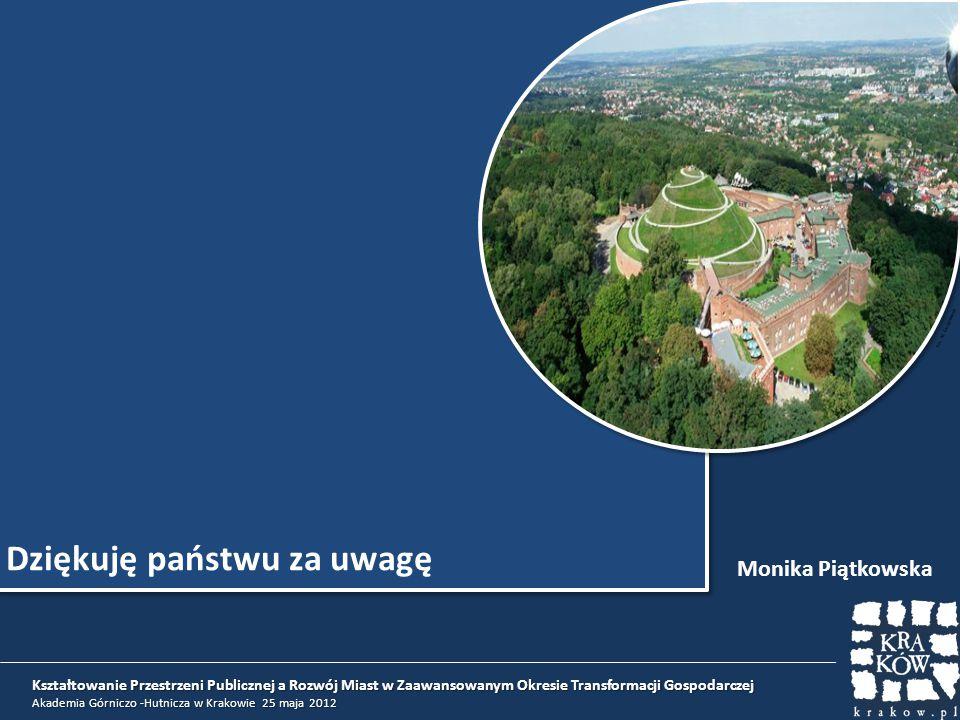 Dziękuję państwu za uwagę Monika Piątkowska Kształtowanie Przestrzeni Publicznej a Rozwój Miast w Zaawansowanym Okresie Transformacji Gospodarczej Aka