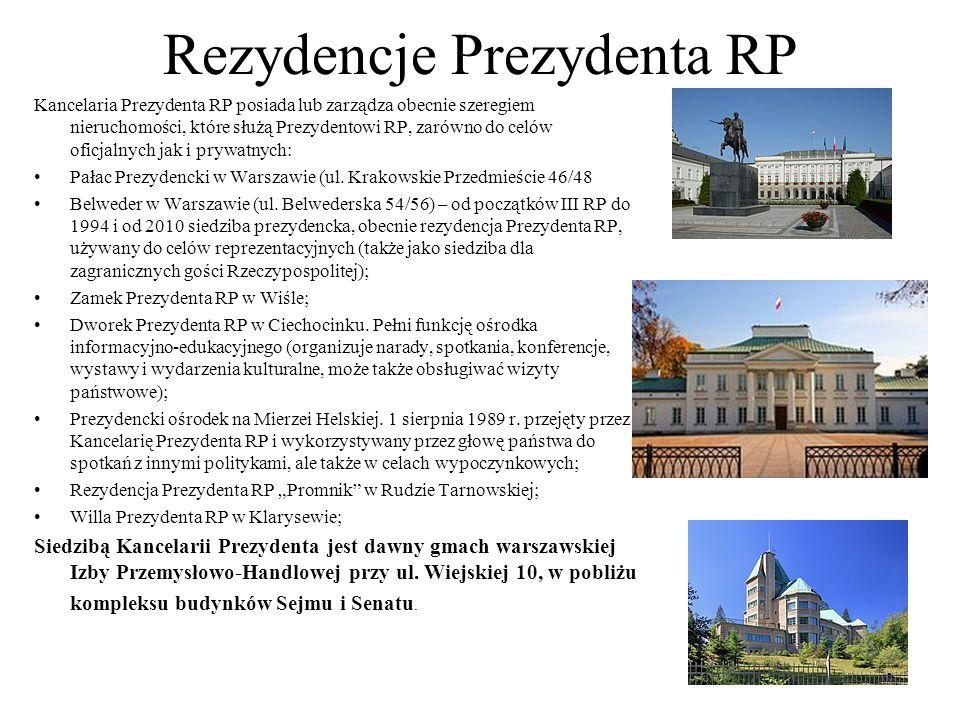 Rezydencje Prezydenta RP Kancelaria Prezydenta RP posiada lub zarządza obecnie szeregiem nieruchomości, które służą Prezydentowi RP, zarówno do celów