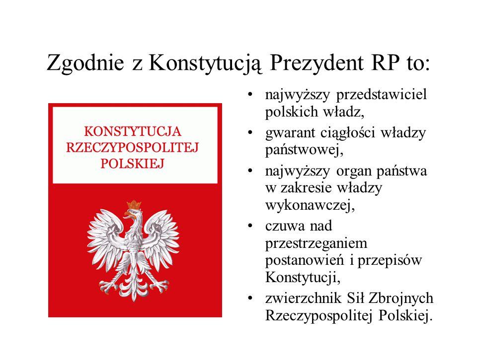 Zgodnie z Konstytucją Prezydent RP to: najwyższy przedstawiciel polskich władz, gwarant ciągłości władzy państwowej, najwyższy organ państwa w zakresi