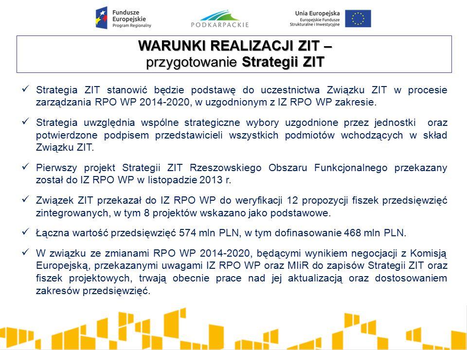 WARUNKI REALIZACJI ZIT – przygotowanie Strategii ZIT Strategia ZIT stanowić będzie podstawę do uczestnictwa Związku ZIT w procesie zarządzania RPO WP 2014-2020, w uzgodnionym z IZ RPO WP zakresie.
