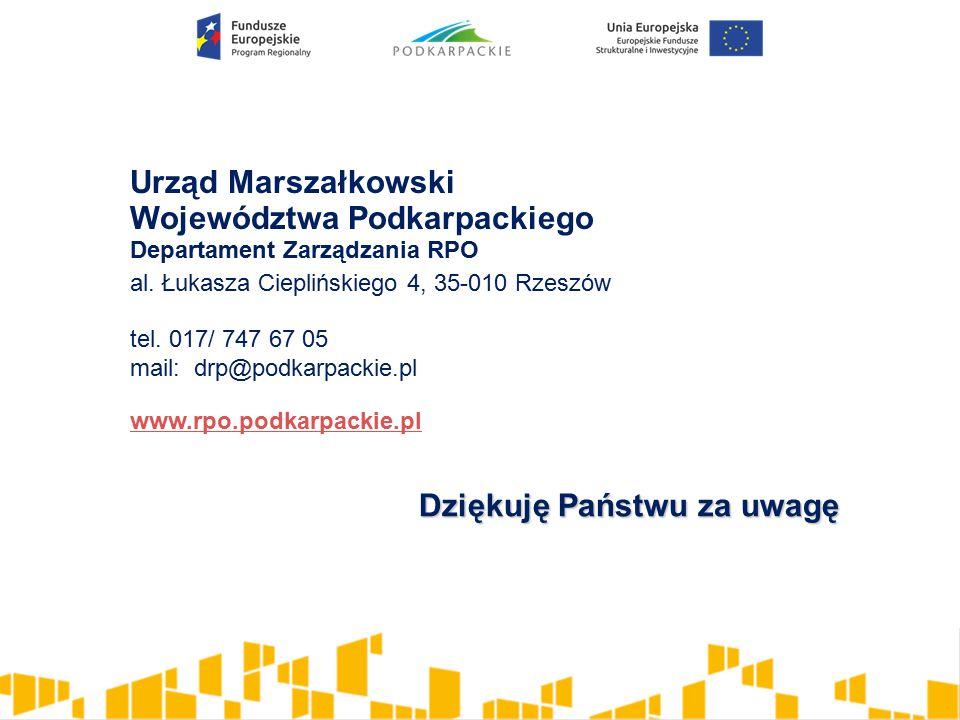 Urząd Marszałkowski Województwa Podkarpackiego Departament Zarządzania RPO al.
