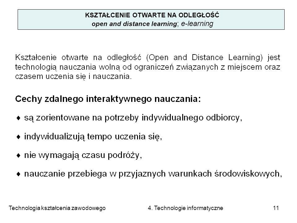 Technologia kształcenia zawodowego 4. Technologie informatyczne11 KSZTAŁCENIE OTWARTE NA ODLEGŁOŚĆ open and distance learning ; e-learning