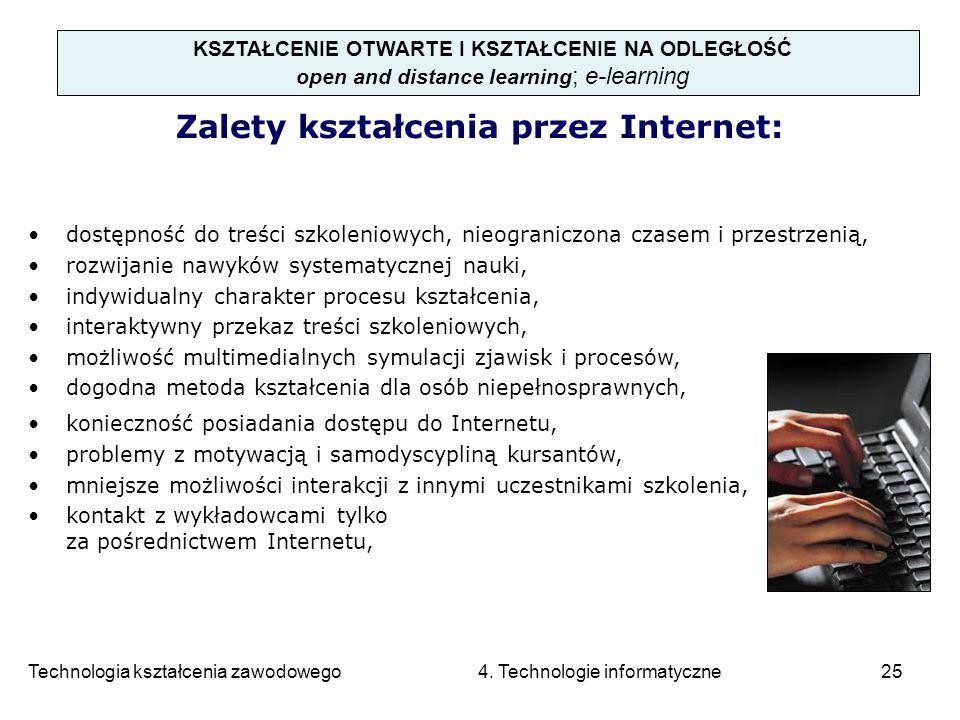 Technologia kształcenia zawodowego 4. Technologie informatyczne25 KSZTAŁCENIE OTWARTE I KSZTAŁCENIE NA ODLEGŁOŚĆ open and distance learning ; e-learni