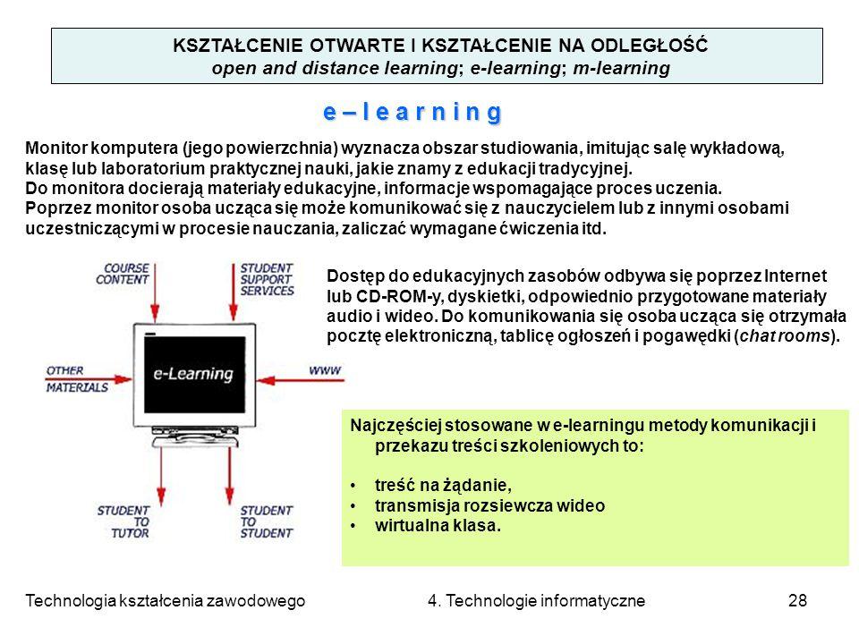 Technologia kształcenia zawodowego 4. Technologie informatyczne28 KSZTAŁCENIE OTWARTE I KSZTAŁCENIE NA ODLEGŁOŚĆ open and distance learning; e-learnin