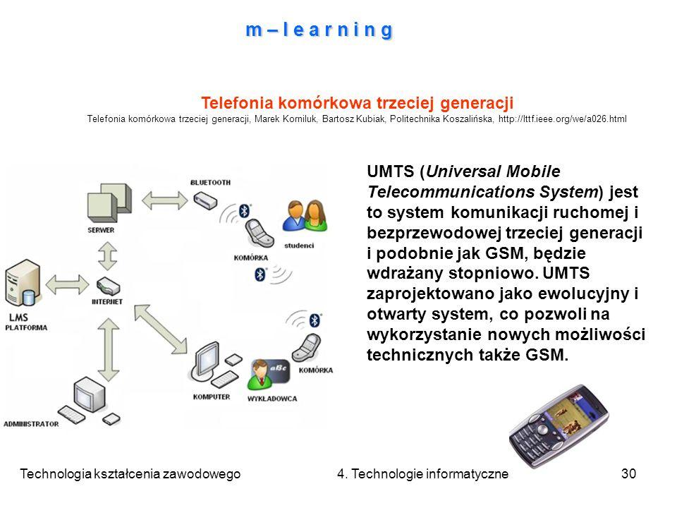 Technologia kształcenia zawodowego 4. Technologie informatyczne30 m – l e a r n i n g Telefonia komórkowa trzeciej generacji Telefonia komórkowa trzec