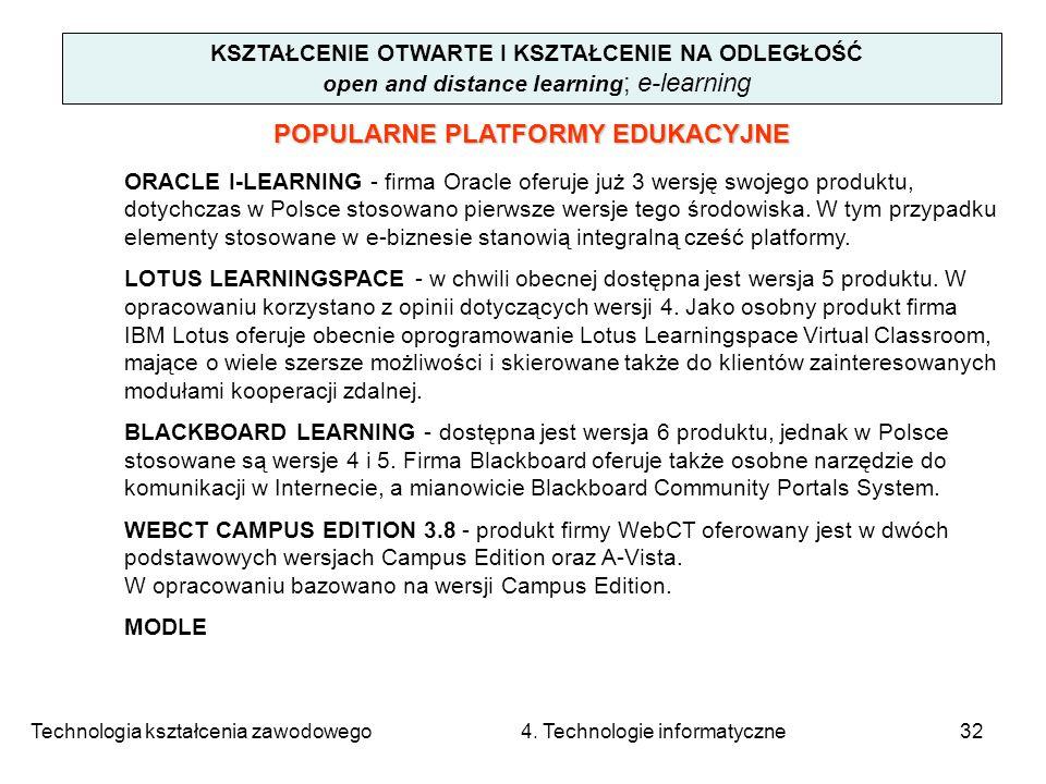 Technologia kształcenia zawodowego 4. Technologie informatyczne32 KSZTAŁCENIE OTWARTE I KSZTAŁCENIE NA ODLEGŁOŚĆ open and distance learning ; e-learni