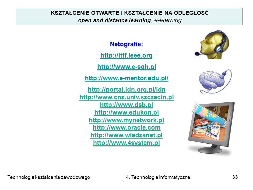 Technologia kształcenia zawodowego 4. Technologie informatyczne33 KSZTAŁCENIE OTWARTE I KSZTAŁCENIE NA ODLEGŁOŚĆ open and distance learning ; e-learni