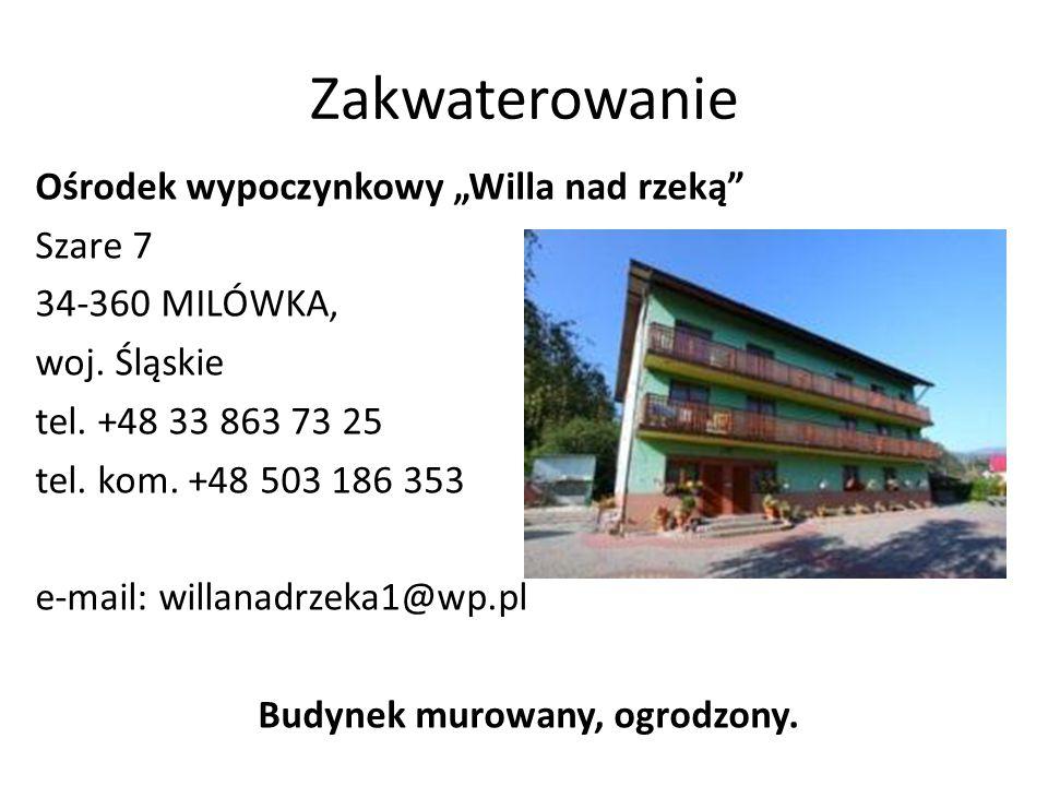 """Zakwaterowanie Ośrodek wypoczynkowy """"Willa nad rzeką Szare 7 34-360 MILÓWKA, woj."""