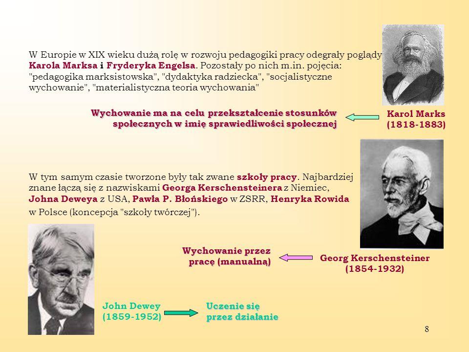 8 W Europie w XIX wieku dużą rolę w rozwoju pedagogiki pracy odegrały poglądy Karola Marksa i Fryderyka Engelsa.
