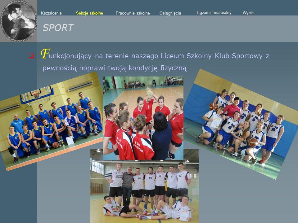  F unkcjonujący na terenie naszego Liceum Szkolny Klub Sportowy z pewnością poprawi twoją kondycję fizyczną SPORT Sekcje szkolne Kształcenie Pracowni