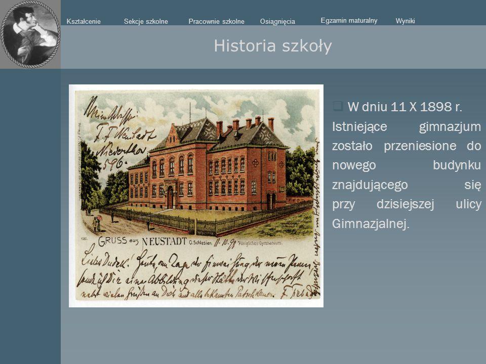  W dniu 11 X 1898 r. Istniejące gimnazjum zostało przeniesione do nowego budynku znajdującego się przy dzisiejszej ulicy Gimnazjalnej. Historia szkoł