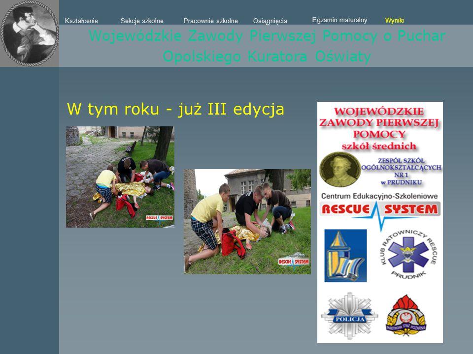 Sekcje szkolne Kształcenie Pracownie szkolneOsiągnięcia Egzamin maturalny Wyniki Wojewódzkie Zawody Pierwszej Pomocy o Puchar Opolskiego Kuratora Oświ