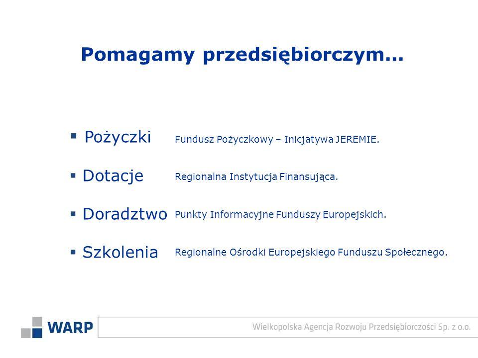  Pożyczki  Dotacje  Doradztwo  Szkolenia Regionalna Instytucja Finansująca. Punkty Informacyjne Funduszy Europejskich. Fundusz Pożyczkowy – Inicja