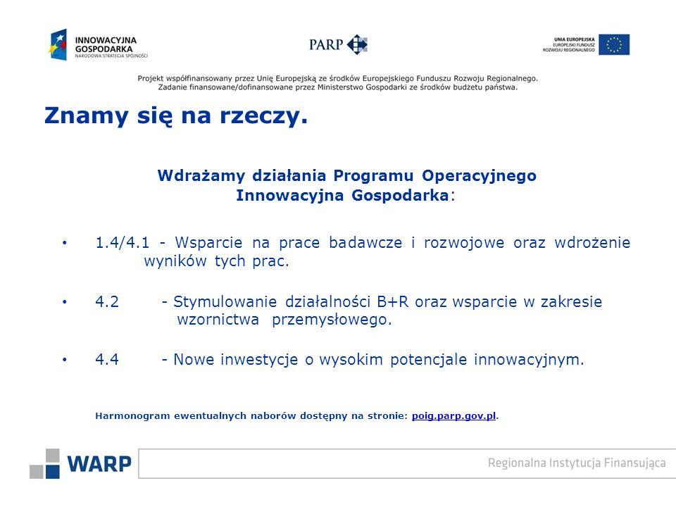 Wdrażamy działania Programu Operacyjnego Innowacyjna Gospodarka : 1.4/4.1 - Wsparcie na prace badawcze i rozwojowe oraz wdrożenie wyników tych prac.
