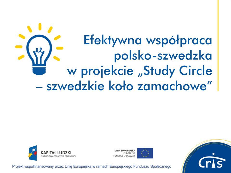 O projekcie Study Circle – szwedzkie koło zamachowe cel: testowanie i wdrażanie szwedzkich metod edukacji pozaformalnej do pracy z rodzicami samotnie wychowującymi dzieci czas realizacji: 1 stycznia 2013 r.
