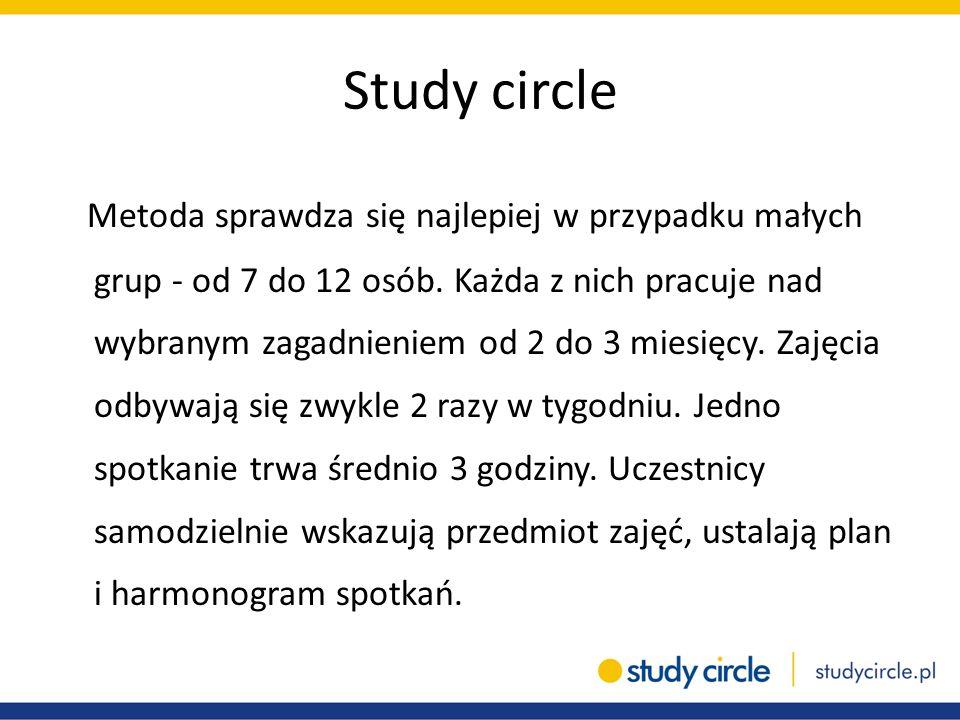 Study circle Metoda sprawdza się najlepiej w przypadku małych grup - od 7 do 12 osób. Każda z nich pracuje nad wybranym zagadnieniem od 2 do 3 miesięc