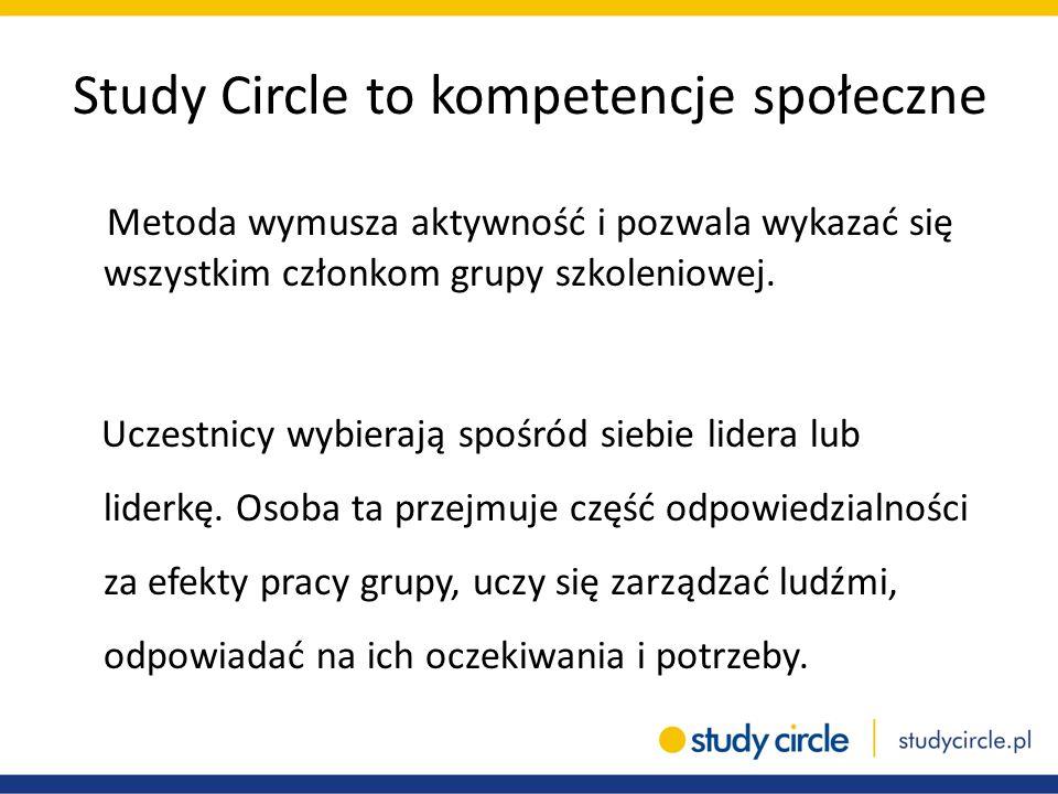 Study Circle to kompetencje społeczne Metoda wymusza aktywność i pozwala wykazać się wszystkim członkom grupy szkoleniowej. Uczestnicy wybierają spośr