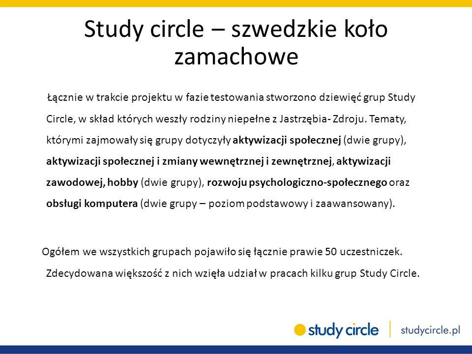 Study circle – szwedzkie koło zamachowe Łącznie w trakcie projektu w fazie testowania stworzono dziewięć grup Study Circle, w skład których weszły rod