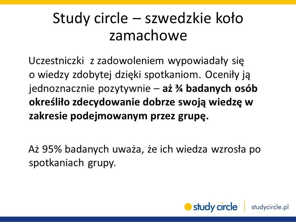 Study circle – szwedzkie koło zamachowe Uczestniczki z zadowoleniem wypowiadały się o wiedzy zdobytej dzięki spotkaniom. Oceniły ją jednoznacznie pozy