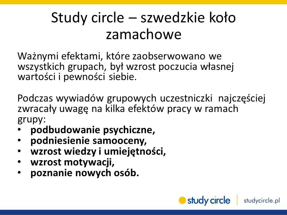 Study circle – szwedzkie koło zamachowe Ważnymi efektami, które zaobserwowano we wszystkich grupach, był wzrost poczucia własnej wartości i pewności s