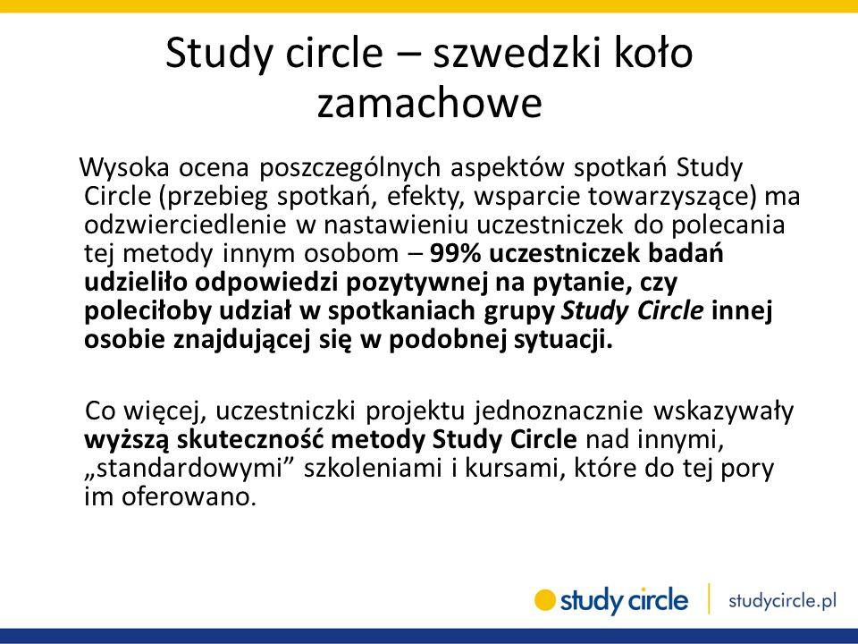 Study circle – szwedzki koło zamachowe Wysoka ocena poszczególnych aspektów spotkań Study Circle (przebieg spotkań, efekty, wsparcie towarzyszące) ma