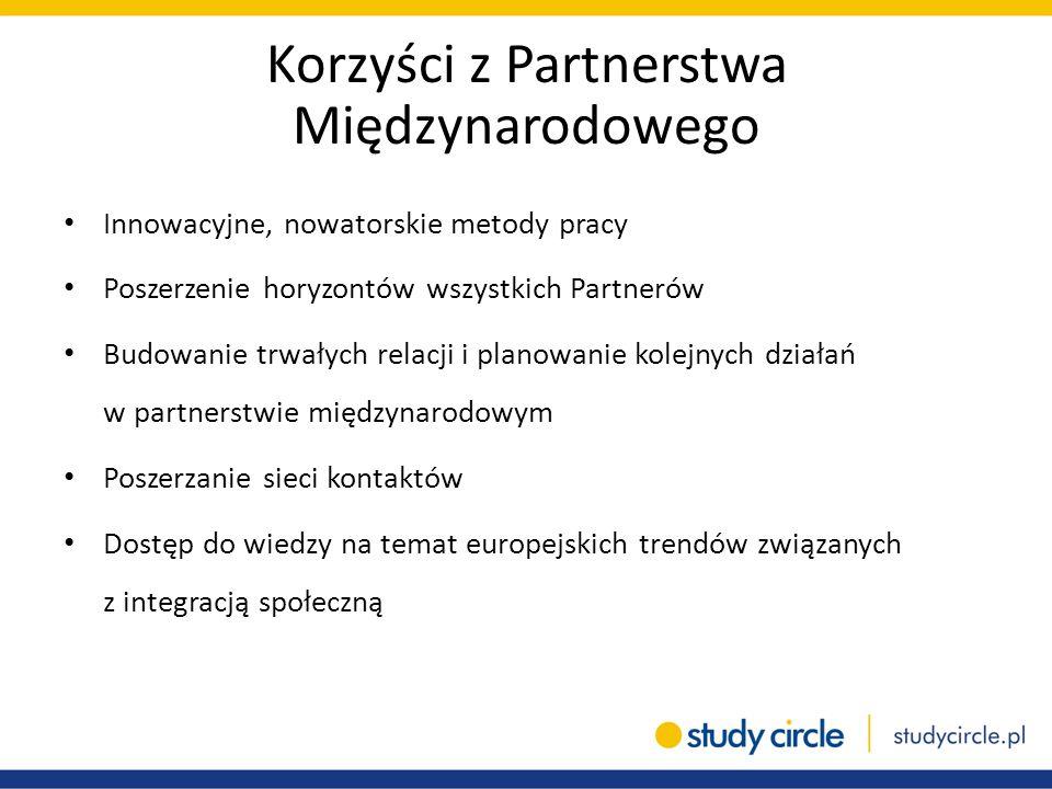 Korzyści z Partnerstwa Międzynarodowego Innowacyjne, nowatorskie metody pracy Poszerzenie horyzontów wszystkich Partnerów Budowanie trwałych relacji i