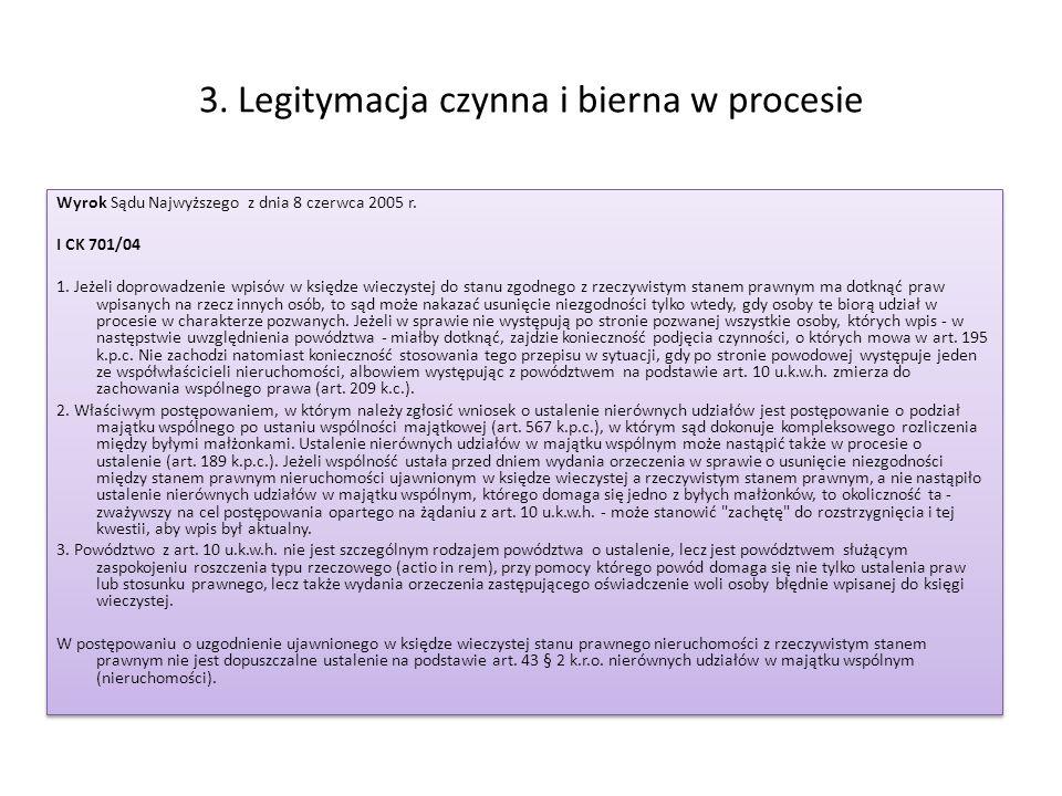 3. Legitymacja czynna i bierna w procesie Wyrok Sądu Najwyższego z dnia 8 czerwca 2005 r. I CK 701/04 1. Jeżeli doprowadzenie wpisów w księdze wieczys