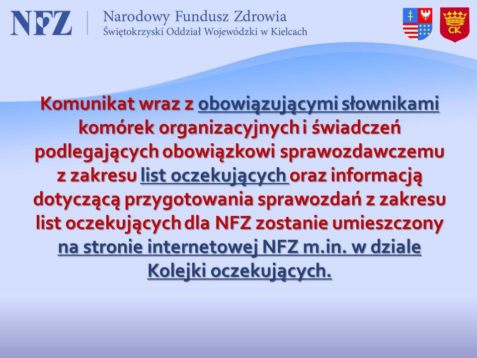Komunikat wraz z obowiązującymi słownikami komórek organizacyjnych i świadczeń podlegających obowiązkowi sprawozdawczemu z zakresu list oczekujących o