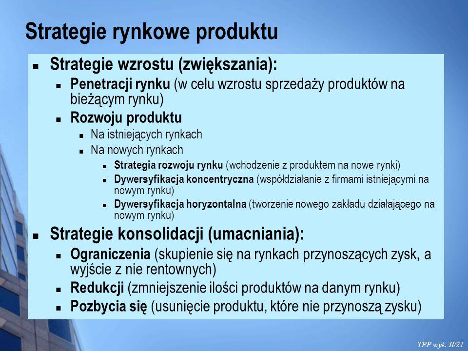 Strategie rynkowe produktu TPP wyk. II/21 Strategie wzrostu (zwiększania): Penetracji rynku (w celu wzrostu sprzedaży produktów na bieżącym rynku) Roz