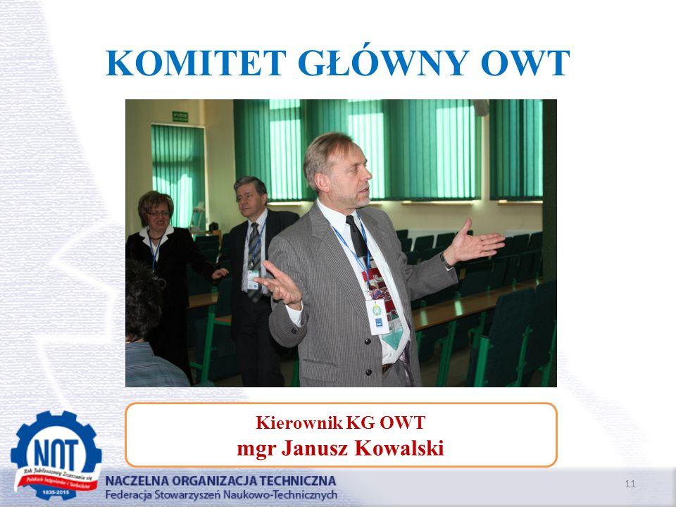 KOMITET GŁÓWNY OWT 11 Kierownik KG OWT mgr Janusz Kowalski