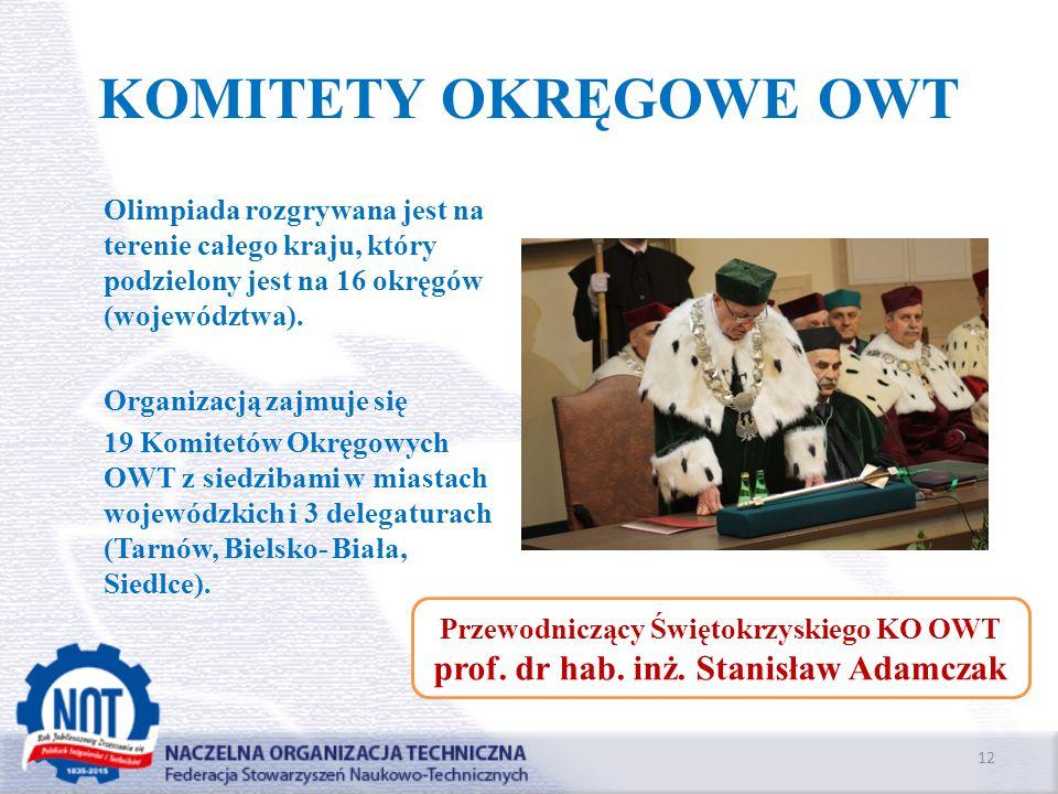 KOMITETY OKRĘGOWE OWT Olimpiada rozgrywana jest na terenie całego kraju, który podzielony jest na 16 okręgów (województwa). Organizacją zajmuje się 19
