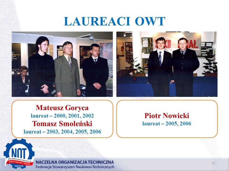 LAUREACI OWT 15 Mateusz Goryca laureat – 2000, 2001, 2002 Tomasz Smoleński laureat – 2003, 2004, 2005, 2006 Piotr Nowicki laureat – 2005, 2006
