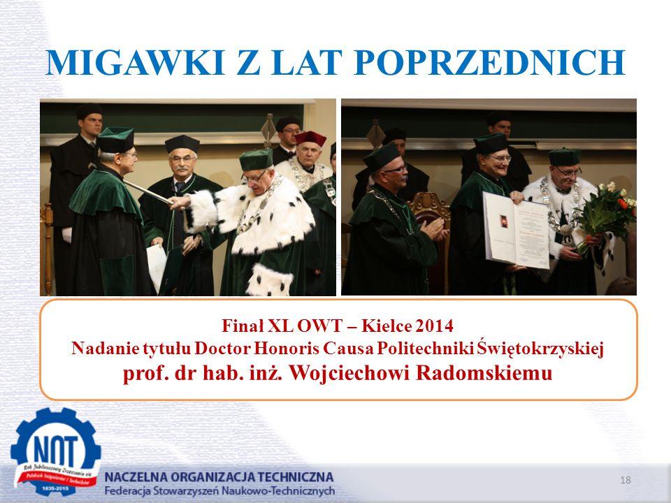MIGAWKI Z LAT POPRZEDNICH 18 Finał XL OWT – Kielce 2014 Nadanie tytułu Doctor Honoris Causa Politechniki Świętokrzyskiej prof. dr hab. inż. Wojciechow