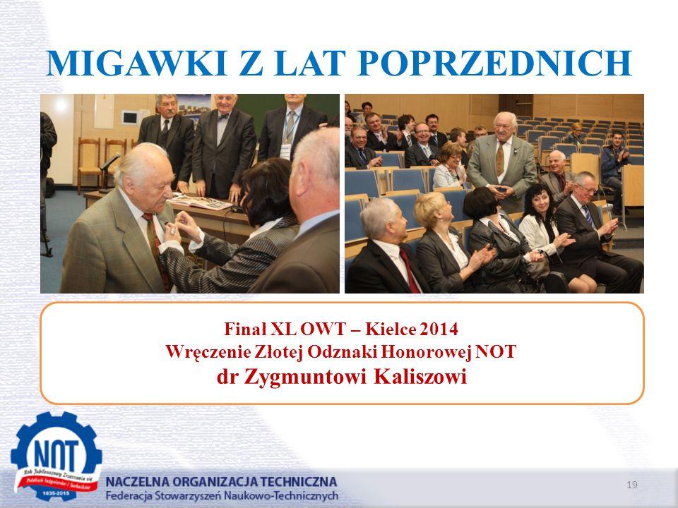 MIGAWKI Z LAT POPRZEDNICH 19 Finał XL OWT – Kielce 2014 Wręczenie Złotej Odznaki Honorowej NOT dr Zygmuntowi Kaliszowi