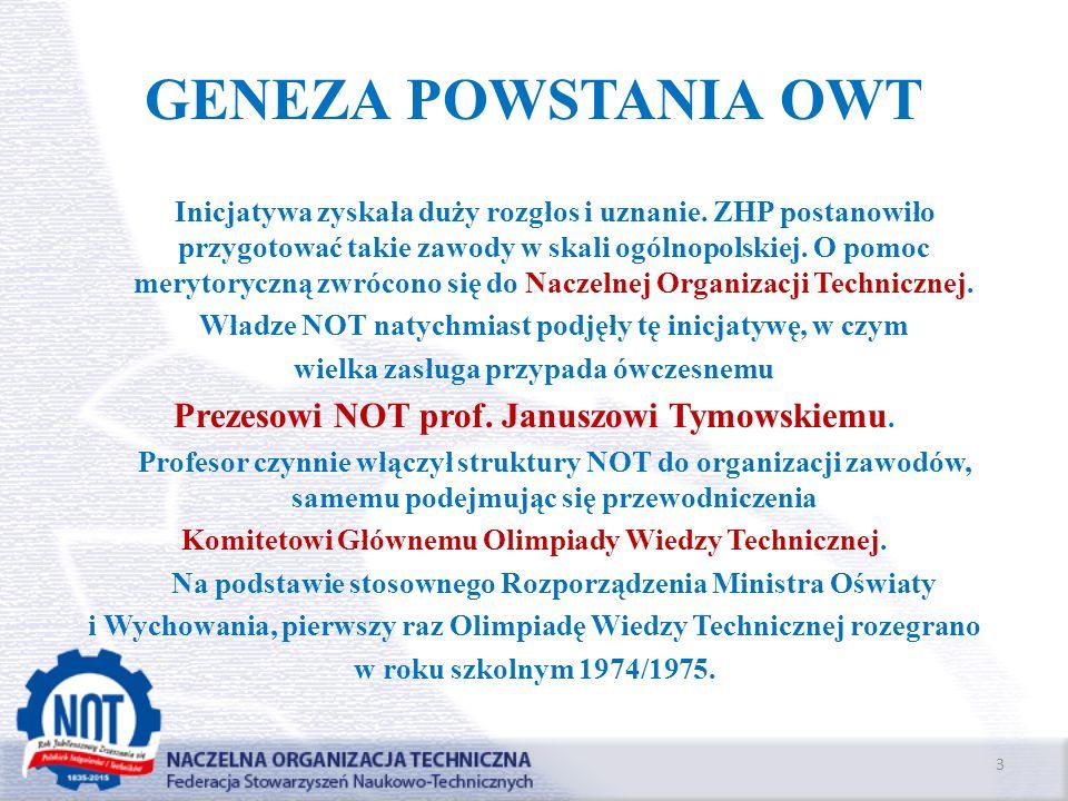 GENEZA POWSTANIA OWT Inicjatywa zyskała duży rozgłos i uznanie. ZHP postanowiło przygotować takie zawody w skali ogólnopolskiej. O pomoc merytoryczną