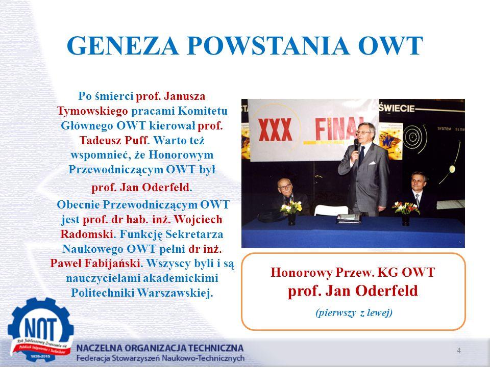 GENEZA POWSTANIA OWT Po śmierci prof. Janusza Tymowskiego pracami Komitetu Głównego OWT kierował prof. Tadeusz Puff. Warto też wspomnieć, że Honorowym