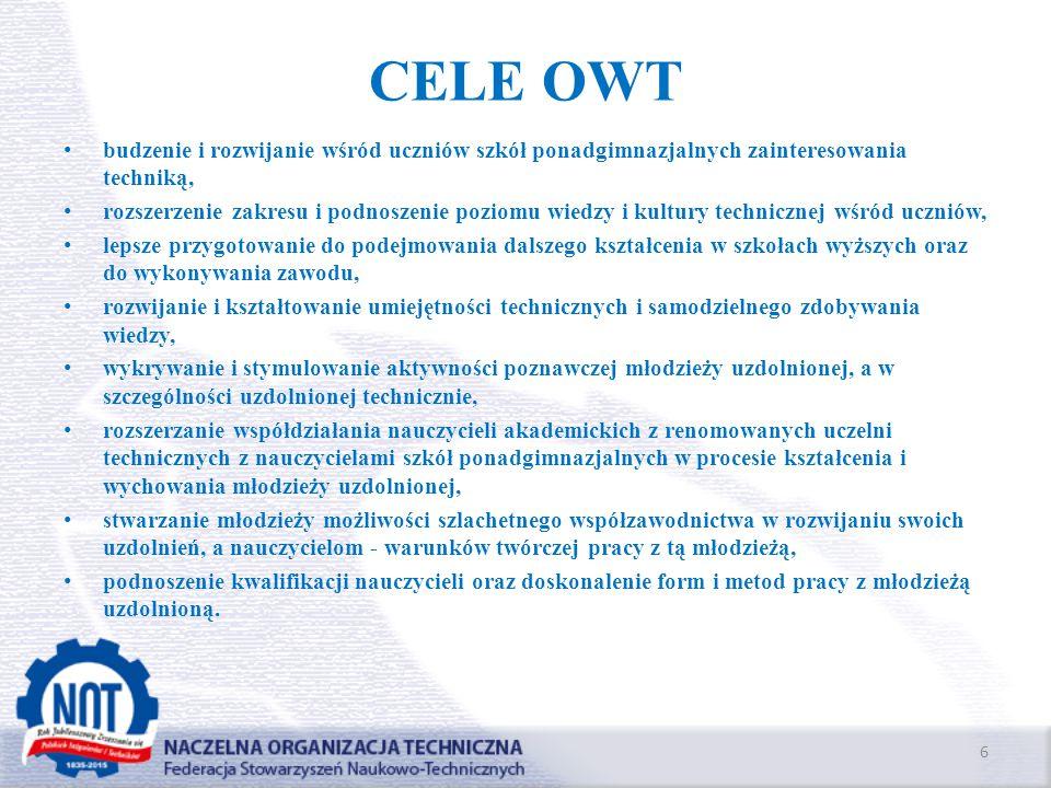 CELE OWT budzenie i rozwijanie wśród uczniów szkół ponadgimnazjalnych zainteresowania techniką, rozszerzenie zakresu i podnoszenie poziomu wiedzy i ku