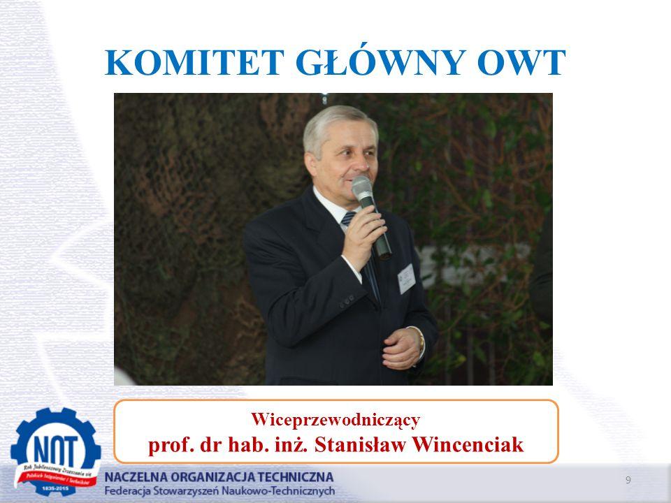 KOMITET GŁÓWNY OWT 9 Wiceprzewodniczący prof. dr hab. inż. Stanisław Wincenciak