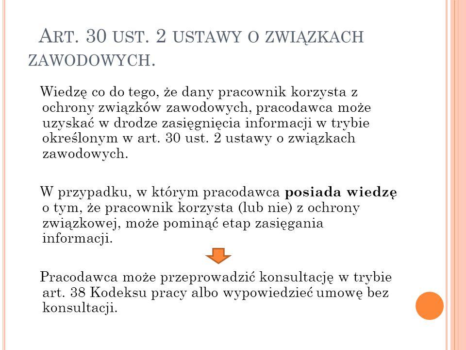 A RT.30 UST. 2 USTAWY O ZWIĄZKACH ZAWODOWYCH.