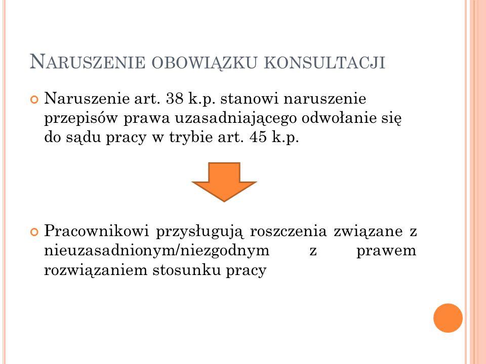 N ARUSZENIE OBOWIĄZKU KONSULTACJI Naruszenie art.38 k.p.
